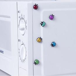 Wholesale ladybug stickers - 6Pcs Lovely Ladybug fridge magnets home decor decorative refrigerator Magnetic sticker Room Decoration Message paper Fixed paste