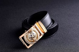 Wholesale Boys Cowboy Belt - 2018 brand new famous designer belts men high quality belt gold Wolf Head buckle Girdle 130cm casual waist strap cowboys jeans