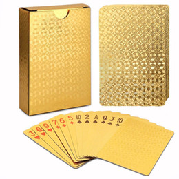 Wholesale magic candy - New Waterproof 24K Gold Poker Cards Marvellous Luxury Foil Plated Plaid Playing Cards Deck Magic card Party Games