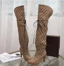 кожаные сапоги женщины за колено Скидка Шикарный фирменных женщин гибискус красный бежевый холст над-колено загрузки дизайнер кожа 7,5 см сапоги на высоком каблуке