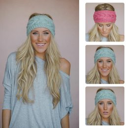 Wholesale Crocheted Headwraps - 31 colors  Solid Wide Knitting Woolen Headband Winter Warm Ear Crochet Turban Hair Accessories For Women Girl Hair Band Headwraps CM127