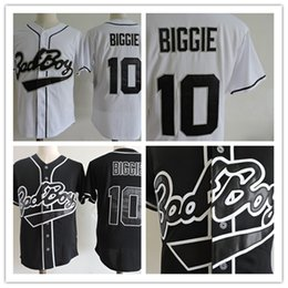 Wholesale Bad Boys - Mens stitched cheap Biggie Bad Boy Film baseball jerseys discount Embroidery White Black #10 Biggie Bad Boy Records BASEBALL JERSEY S-2XL