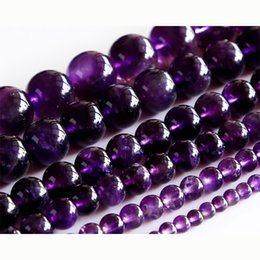 """Wholesale Amethyst Grading - Natural AAA Grade Amethyst Purple Crystal Round Loose Stone Beads 3-18mm Fit Jewelry DIY Necklaces or Bracelets 15"""" 02891"""