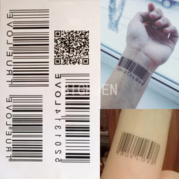 Wholesale Tattoo Sticker Love - Wholesale- 1 Sheet Barcode Design Waterproof Wrist Tattoo Stickers Love Tattoos Temporary Women Fake Tattoos Letters Tattoo Sticker BHC0077
