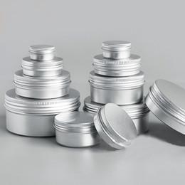 Wholesale nail box cosmetic - 50pcs lot 5g 10g 15g 20g 30g 50g Aluminum Cream Jar Pot Nail Art Makeup Lip Gloss Empty Cosmetic Metal Tin Containers box