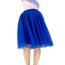 Custom Made Best Quality 7 strati Midi gonna in tulle blu tutu gonne delle donne petticoat cintura elastica 2017 estate faldas saia jupe cheap belted tulle skirt da pannello esterno in tulle con cintura fornitori