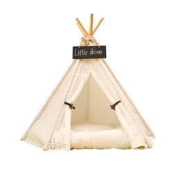 Wholesale Bedding For Dog Houses - white color Pet tent   Pet bed   Dog bed Cat Teepee tent play house for hot selling with mat