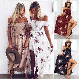 Wholesale Long Beach Cocktail Dress - Women Summer Boho Floral Printed Long Dress Maxi Evening Party Cocktail Dress Beach Dresses Sundress 7 Colors LJJO4136