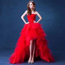 2019 rendas até vestidos de noiva de frente Vestidos de casamento Strapless alta baixa 2018 Vestidos de casamento vermelhos Short frente Longo Voltar vestido de noiva Lace Up