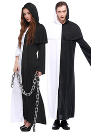 trajes negros para mujer. Rebajas envío gratis disfraces de Halloween hombres y mujeres amores traje blanco y negro fantasma impermanencia es pobre traje de cosplay