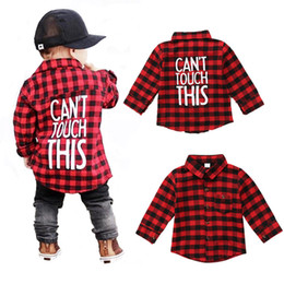 Wholesale preppy blouse - Baby Boys Long Sleeve Red and Black Plaid Shirt Kids Long Sleeve Blouse Casual Clothes Letter Print Preppy Casual Children Clothing 1-7T