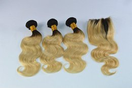 Wholesale cheap two tone blonde hair - Two Tone Ombre Human Hair With Closure Cheap Blonde 1B 613 Brazilian Hair With 4X4 Closure Wet And Wavy Hair 3Pcs With Closure