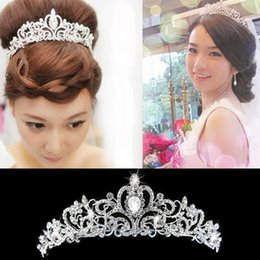 Wholesale Trendy Chain Headbands - High Quality Tiara Crown Victorian Wedding Bridal Prom Pageant Silver Rhinestone Crystal Headband Hairband Jewelry Free Shipping