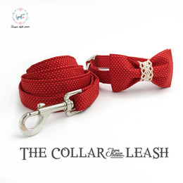 Wholesale Large Dog Bow Ties - red dot dog collar and leash set with bow tie personal custom adjustable pet pupply 100% cotton dog accessary