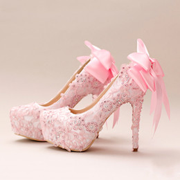chaussures sur mesure taille 14 Promotion 2018 Perles Cristaux Rose Chaussures De Mariage Sur Mesure Taille 14 cm Talon Haut Chaussures De Mariée Parti Chaussures De Bal Femmes Pompes Livraison Gratuite