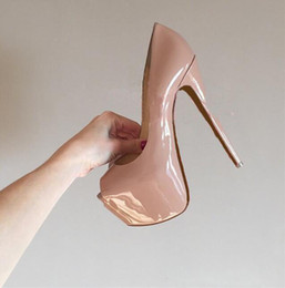 Wholesale Sexy Nude High Heel Women - Fashion Brand Red Bottom High Heels Sexy Peep-toe Platform Red Sole Shoes Women Pumps 16cm High-heeled Party Shoes size 34-42