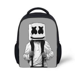Niños mochilas niños online-Bolsa de escuela Marshmello mochila para niños niño niñas mochila femenina impresión mochila escolar suministros casuales máscara DJ Satchel