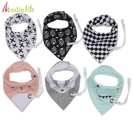 Wholesale Cotton Hangers - Muslin life (3pcs lot) 2017 New Fashion Baby Bibs With Pacifier Hangers