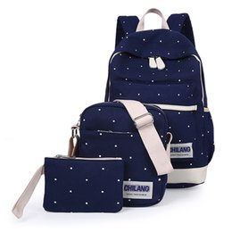 Wholesale Korean Book Bags - 3Pcs Sets Korean Casual Women Backpacks Canvas Book Bags Preppy Style Bags for Teenage Girls Composite Bag backpack