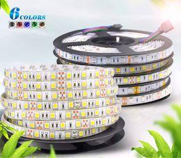 2019 iluminação de fita adesiva led de qualidade DC 12 V 5 M 300LED IP65 IP20 não Impermeável 5050 SMD RGB CONDUZIU a luz de Tira 3 linha em 1 Fita de alta qualidade Da Fita para a iluminação home iluminação de fita adesiva led de qualidade barato