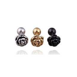 6d2488362 Vintage Black Silver Gold Rose Flower Stud Earring For Women Unisex Ear  Studs Titanium Steel Earrings Punk Body Piercing Jewelry