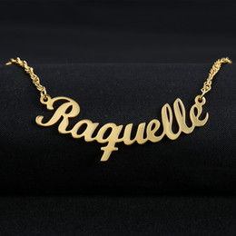 personalized name chains Coupons - Customized Font Name Charm Necklace Personalized Custom Handwriting Name Plate Pendants Necklaces Link Chain Jewelry Women Gift