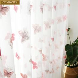 weiße schmetterlingsvorhänge Rabatt CITYINCITY Schmetterling Weiße Vorhänge für Wohnzimmer Bestickt Vorhang für Kinder Schlafzimmer sheer Tüll Frauen Fenster 3d Voile