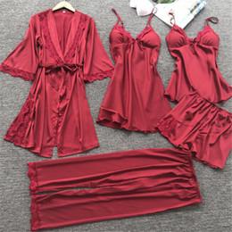 6bfc6d037b 5 Pieces Set Women Pajamas Autumn Full Sleeve Nightwear Satin Silk Pants  Pajama Sets Women Brand Pajamas Sexy Sleepwear M L XL