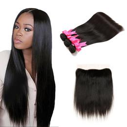 2019 vendeurs de cheveux vierges Brésilienne Virgin Hair 13x4 fermeture à l'avant avec 3 faisceaux de dentelle brésilienne avant noeuds blanchis à l'avant avec 3 fils vendeurs de cheveux vierges pas cher