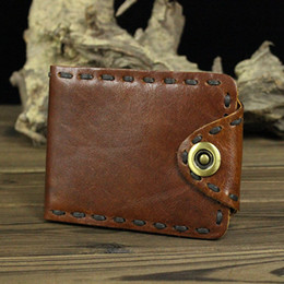 Wholesale Handmade Leather Wallets - 2017 Handmade Genuine Leather Men Wallets Man Long Short Small Vintage Hasp Purse Designer Carteira With Credit Card Holders