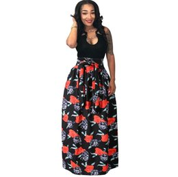 Canada Femme Africaine Boho Dashiki Robe Longue Maxi Plissée Jupe D'impression Buste Jupe Robe De Bal Maxi Jupes Grande Taille 4XL 4 Couleurs Offre