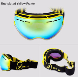 Wholesale Double Lens Snowboard Ski Goggles - Double Lens UV400 Anti-Fog Big Spherical Skiing Glasses Winter Sport Protective Snowboard Skiing Eyewear Goggles Glasses +B