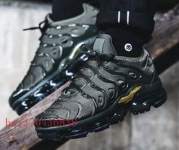 Wholesale Metallic Packing - 2018 NEW Vapormax TN Plus Olive In Metallic 12 Colorways Running Mens Shoes Sports Male Shoe Pack Triple Black TRIPLE WHITE