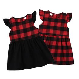 Niños del niño de los bebés Vestido de niña de algodón rojo a cuadros sin mangas de cuello redondo Princesa Niña Corta Mini Vestidos de fiesta desde fabricantes
