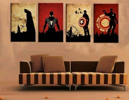 Wholesale Paper Iron Man - 4 Panel Marvel Comics Heroes Pictures Hand Painted Oil Painting Wall Art Home Decor Acrylic Paintings Iron Man, Batman, Captain