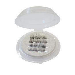 Wholesale Magnet Pair - Upgrade Long Three Magnetic Eyelashes handmade 3D Reusable False Magnetic Eyelashes 3 Magnets 1 Pair 4Pcs