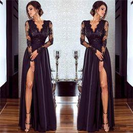 Wholesale Celebrity Dressing - Elegant Split Long Sleeve Lace Arabic Evening Dresses V-Neck Chiffon Vestidos De Festa Party Dress Prom Formal Pageant Celebrity Gowns