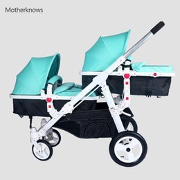 Wholesale car footrest - New hotselling twins baby Strollers Motherknows car 175 degree carriage wide seat 34cm bassinet with adjustable footrest