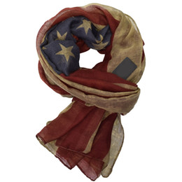 Оптовая шарф новый дизайнер женщины старинные западный стиль американский флаг шарф женщина длинный хлопок вискоза шарфы Шаль украл V9a18477 от