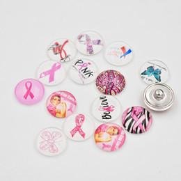 Accessoires de cancer du sein en Ligne-Mixte 18MM Verre Ruban Cancer Du Sein Sensibilisation Snap Bouton Charmes DIY Snap Bijoux Accessoires