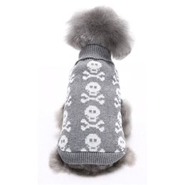 classic shirt new design Promo Codes - 3 Colors New Winter Pet Dog Sweater Skull Design Hallween High Quality Small Large Dogs Cats Clothes Free Shipping Plus Size XS~XXL