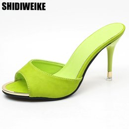 17ec4f960d72f3 2019 schwarze rosa dicke high heels Thin Heel Slipper Frauen Schuhe sexy  schwarz dicker Boden offene