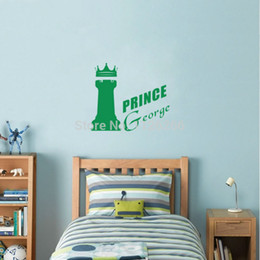 Wholesale Prince Wall - Custom Any Boys Name Wall stickers Prince Castle Creative Wall Decals for Nursery Baby Bedroom Home Decor