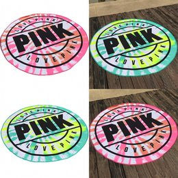 Wholesale family cell - Pink Love Round Beach Towel Superfine Fiber Yoga Pads No Static Electricity Fashion Designer Bath Blankets Many Styles 25 5yb dZ