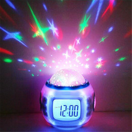 Wholesale Thermometer Night Light - Music Colorful Starry Star Sky LED Projection Projector Light Alarm Clock-White Calendar Thermometer BedRoom Sky Star Night Light Projector