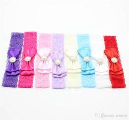 Wholesale pearl elastic headband - Baby Girls Headbands Lace Bows Hairbands Newborn Elastic Bow Headbands Flower Rhinestone Pearl Infants Accessories baby hairs bows KHA126