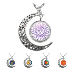 Wholesale face picture - YAUTION Fashion Silver Crescent Moon Pendant Necklace Charms Glass Cabochon Art Picture Pendant Gold Sun Face Necklaces