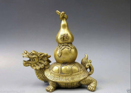 Wholesale Dragon Fans - Chinese Brass Copper Animal Fengshui bottle gourd calabash Dragon Turtle Statue