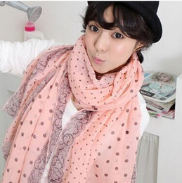 Wholesale Lady Large Rings - Fashion Popular Women Lady Spring Autumn Warm Soft Long Voile Neck Large Scarf Wrap Shawl Stole Dots Scarves Pashmina Voile Scarf