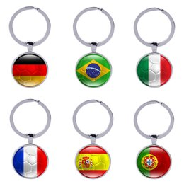 Wholesale Ball Keychains - Football Keychains World Cup Keyrings Flags Soccer Fans Souvenir Fashion Men Women Key holder Accessories Wholesale